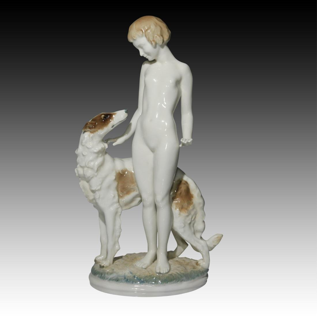 Hutschenreuther Nude Woman with Borzoi Figurine