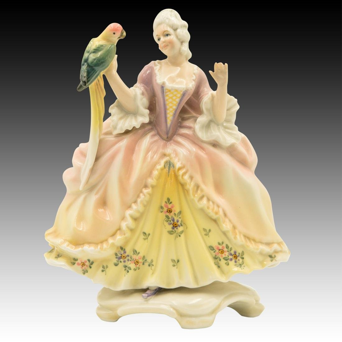 Karl Ens Lady with a Parrot Figurine