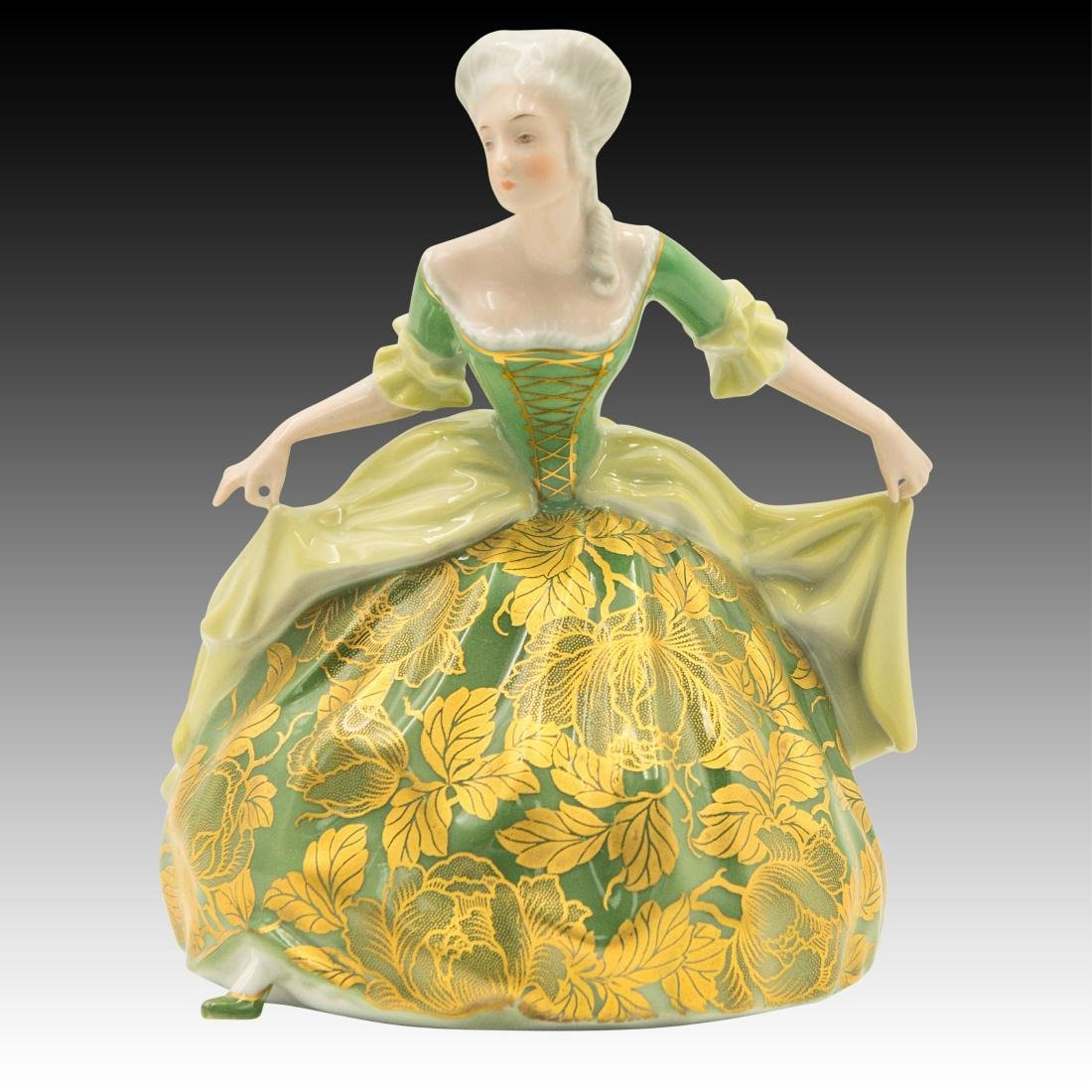 Rosenthal Rococo Dancer in Gold Green Dress