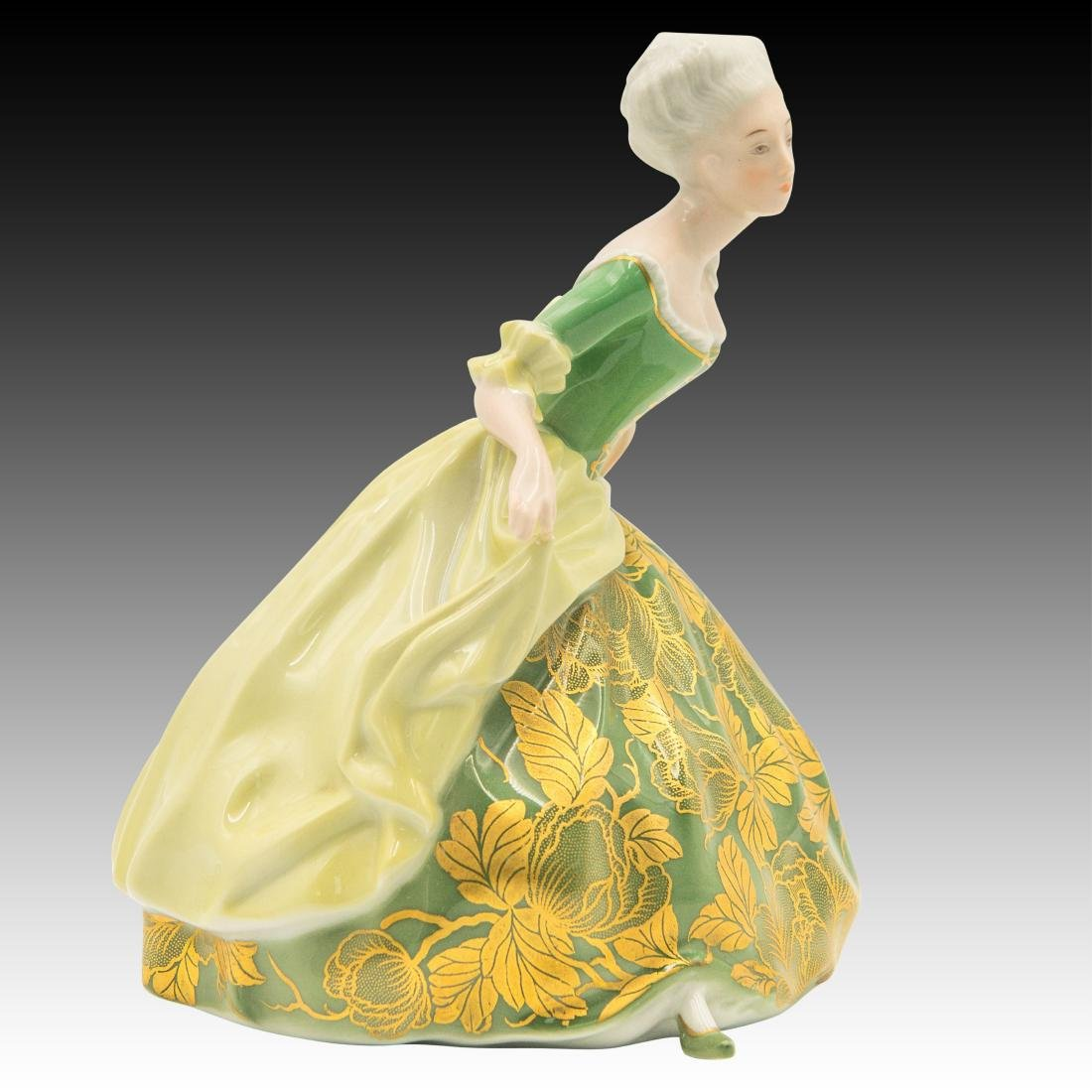 Rosenthal Rococo Dancer in Gold Green Dress - 2