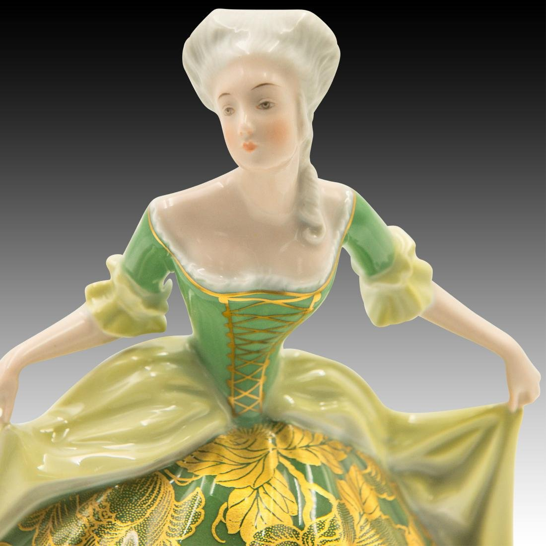 Rosenthal Rococo Dancer in Gold Green Dress - 4