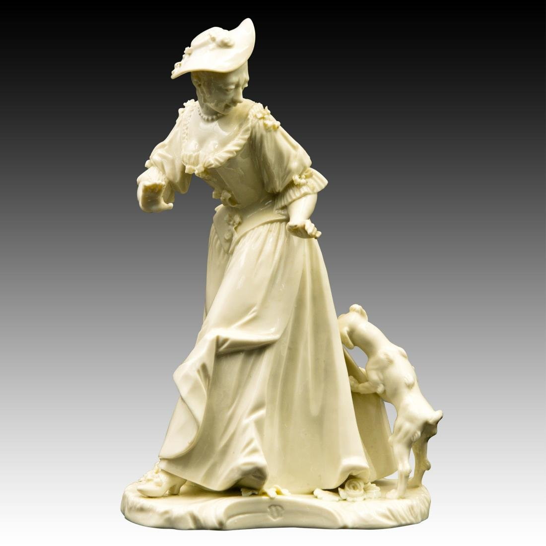 Nymphenburg Woman with Dog Pulling Down Dress