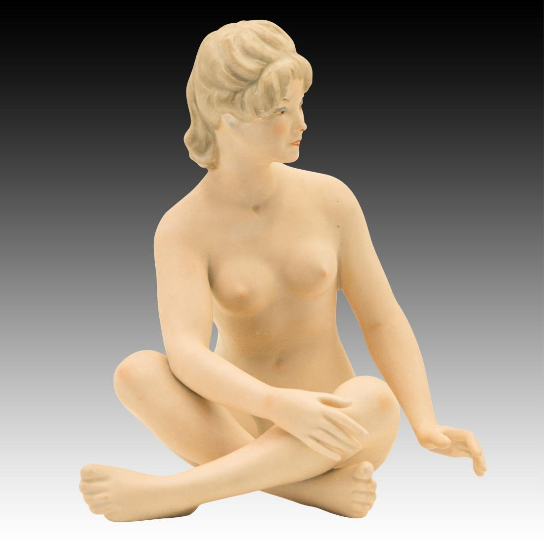 Wallendorf Seated Art Deco Nude Woman Sunbather