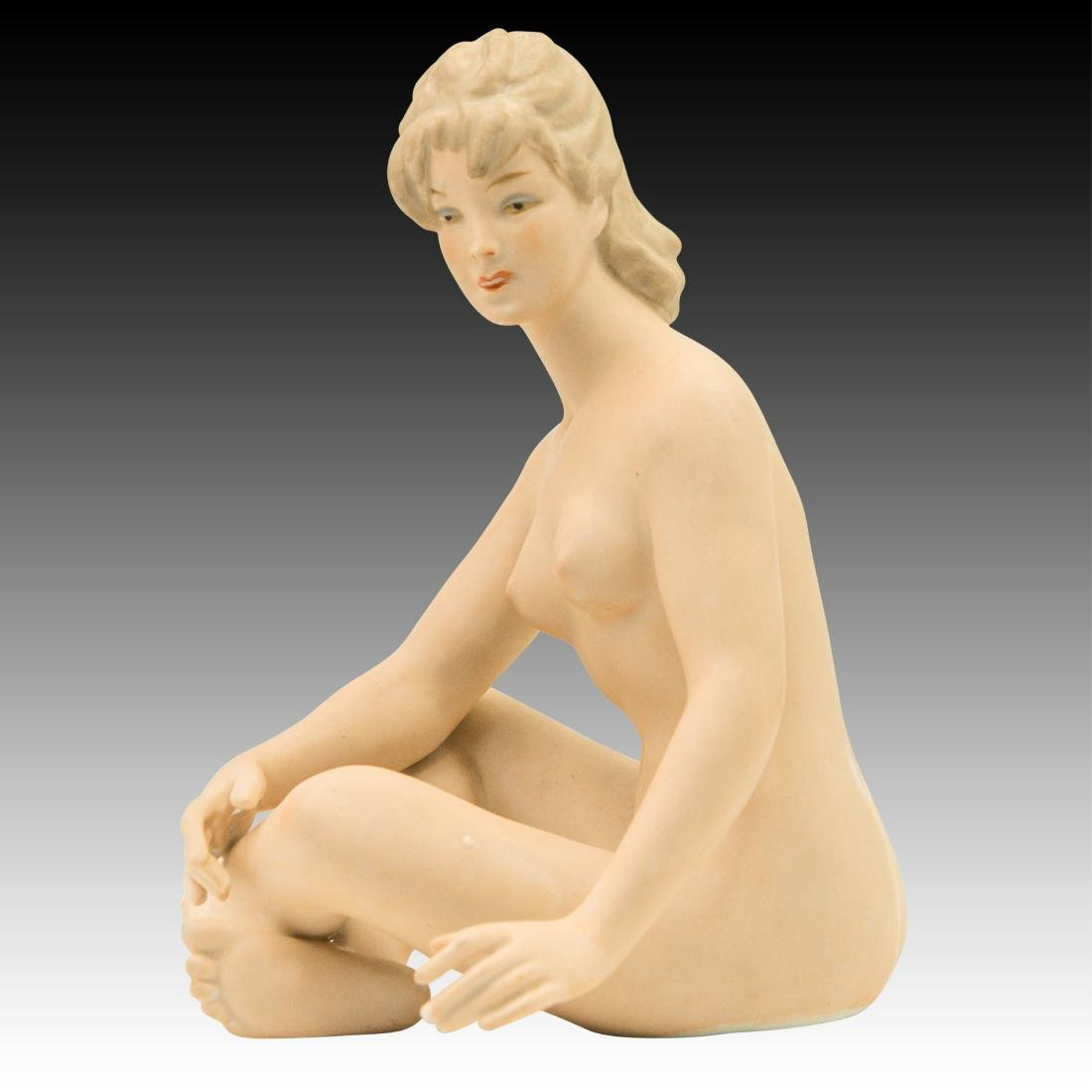 Wallendorf Seated Art Deco Nude Woman Sunbather - 4