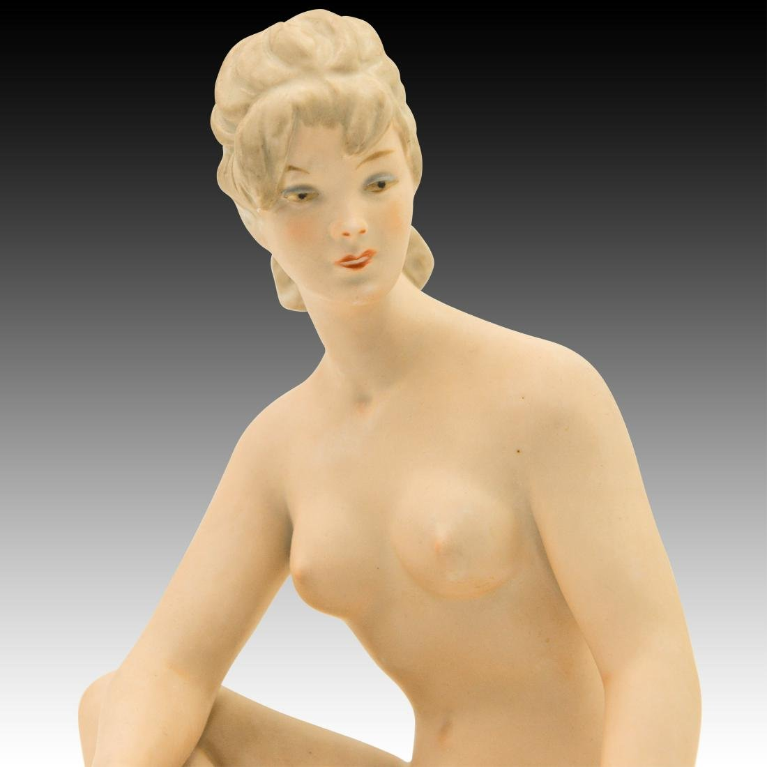 Wallendorf Seated Art Deco Nude Woman Sunbather - 5
