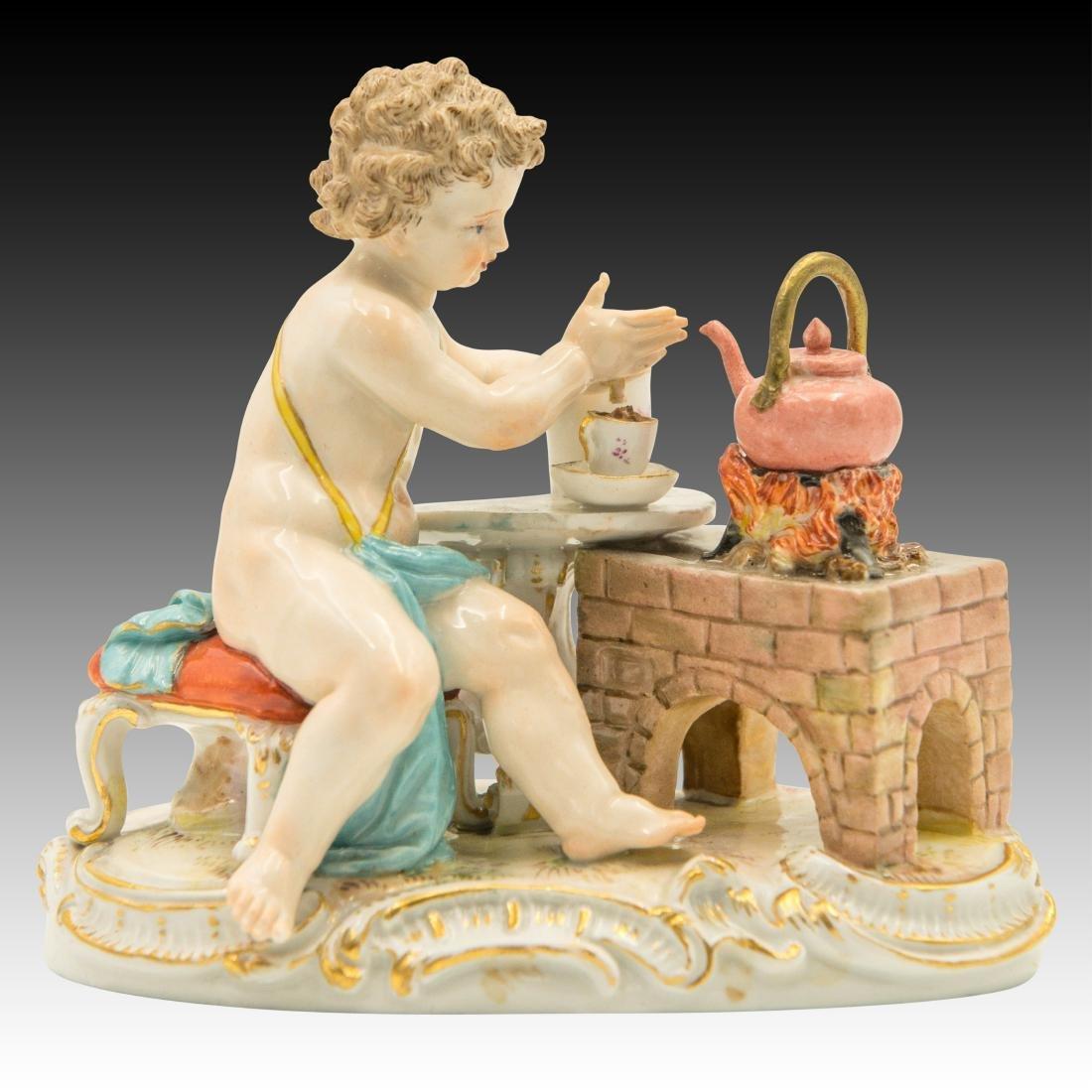 Meissen Cherub Making Hot Chocolate Figurine