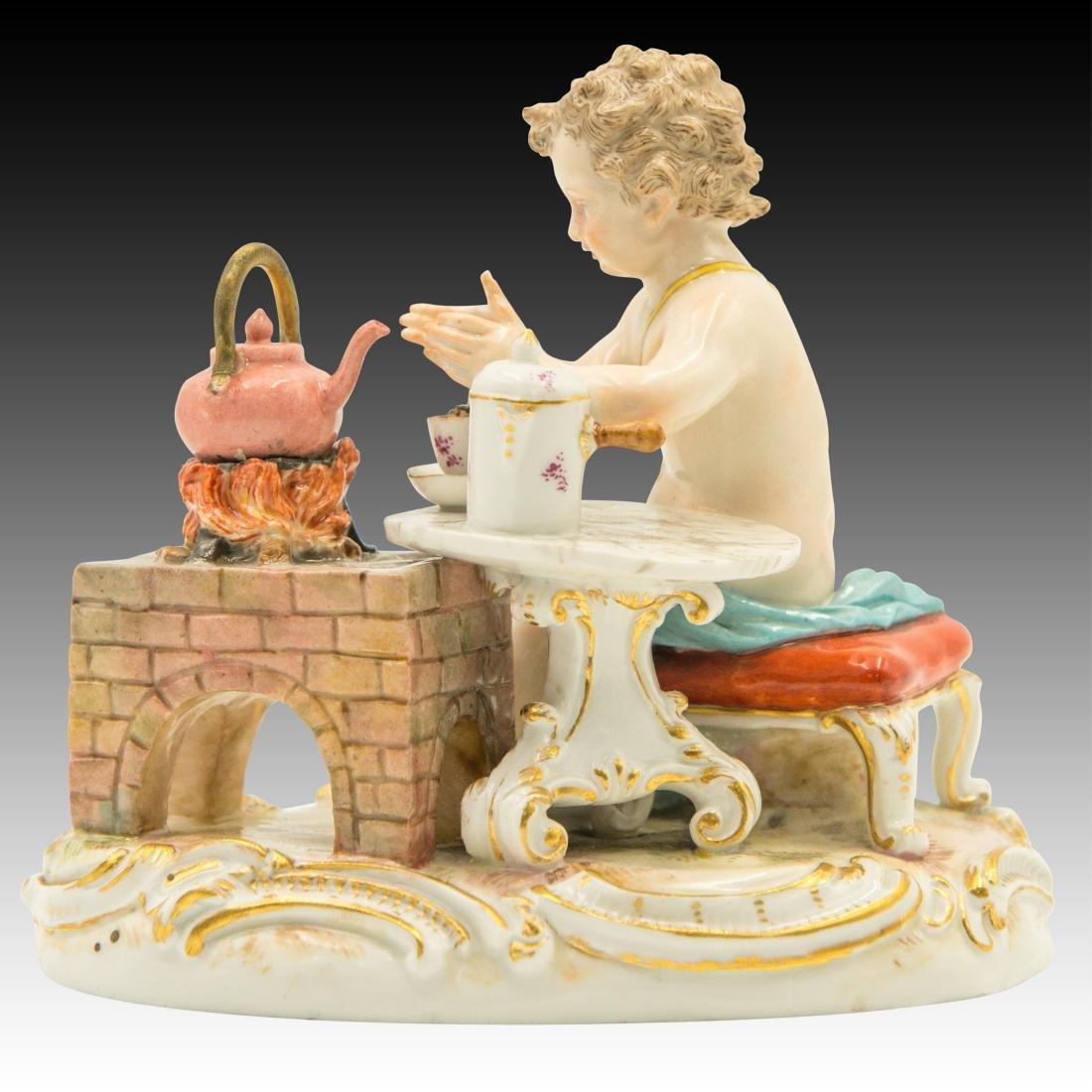 Meissen Cherub Making Hot Chocolate Figurine - 4