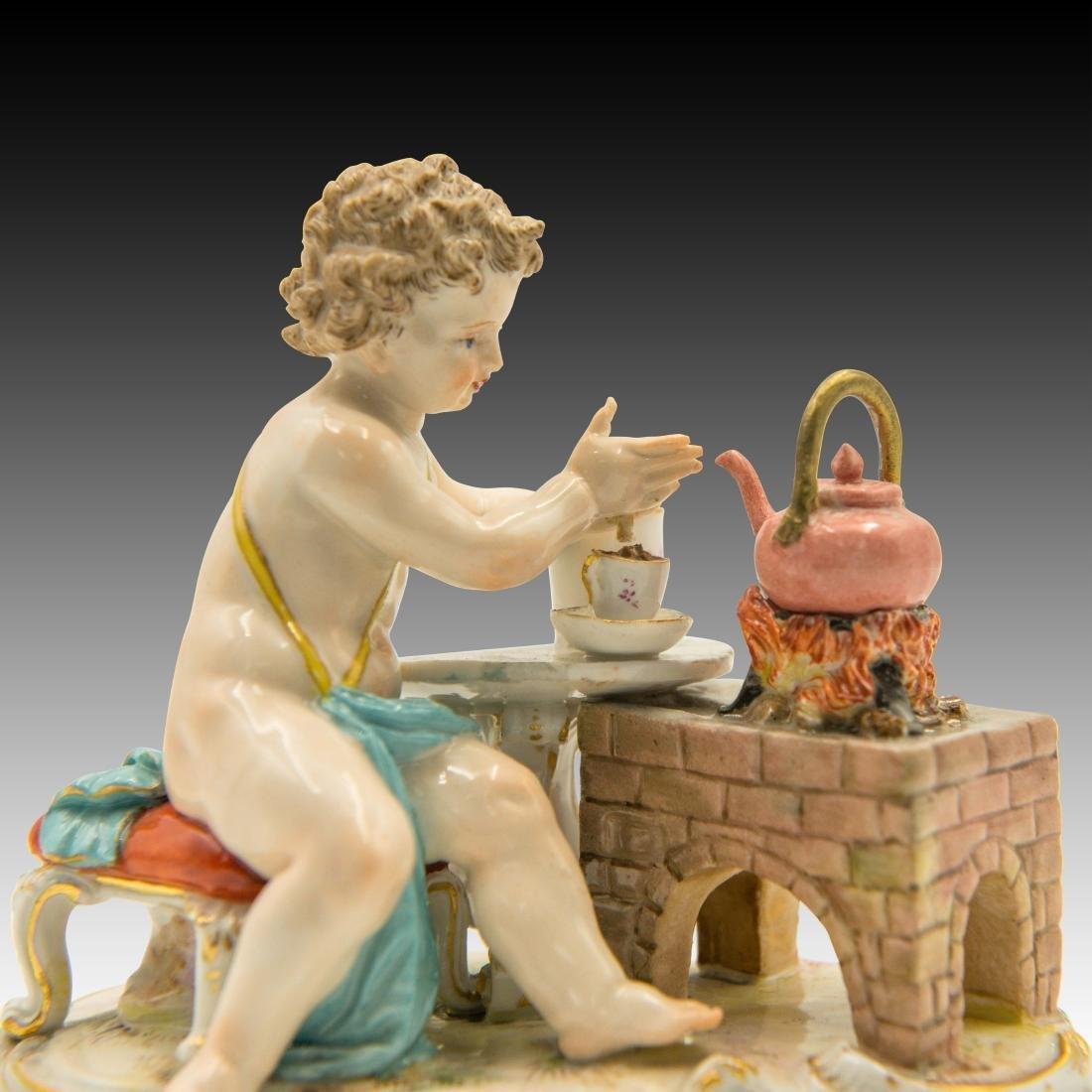 Meissen Cherub Making Hot Chocolate Figurine - 6