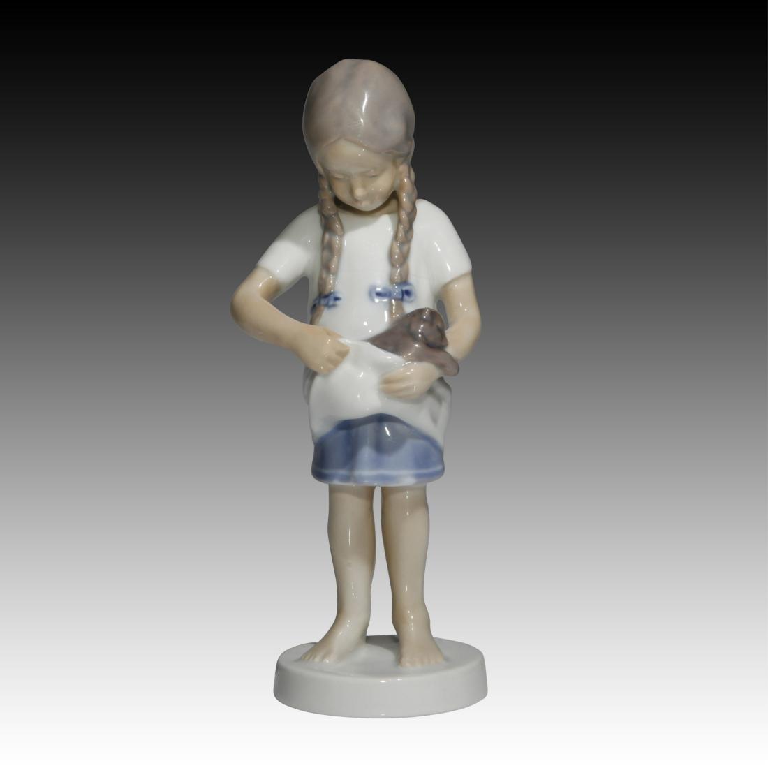 Bing & Grondahl Young Girl with Kitten Figurine