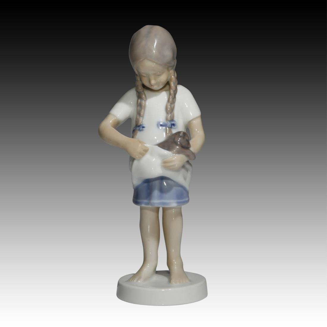 Bing & Grondahl Young Girl with Kitten Figurine