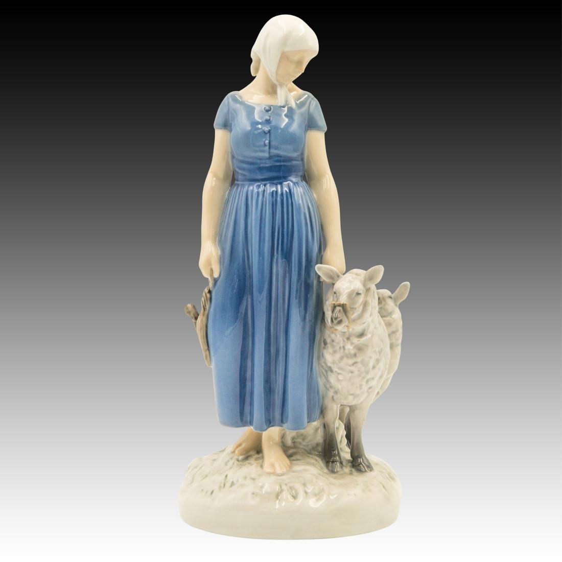 Bing & Grondahl Woman Herding 3 Sheep to Market