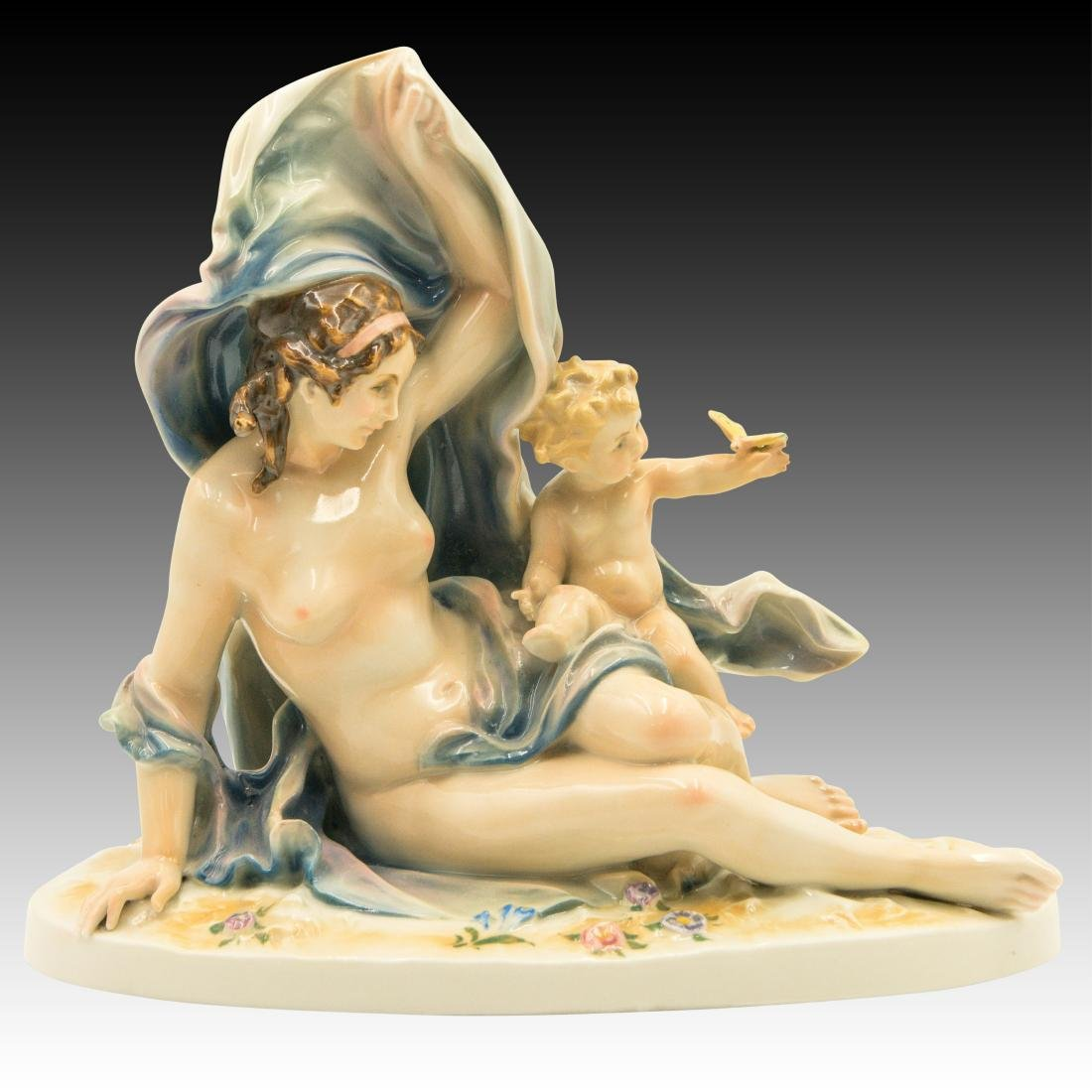 Karl ENS Porcelain Nude Woman with Child Figurine