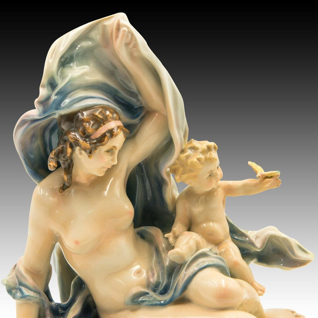 Karl ENS Porcelain Nude Woman with Child Figurine - 5