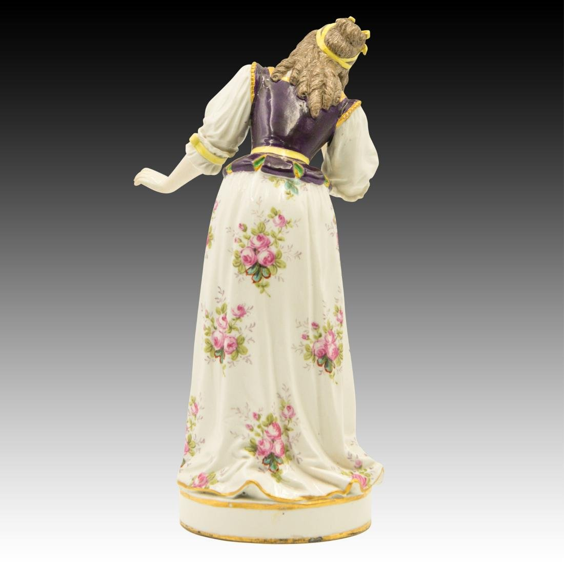 Meissen Colorful Young Woman in Flowered Dress - 3