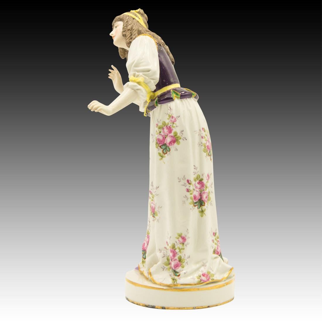 Meissen Colorful Young Woman in Flowered Dress - 4