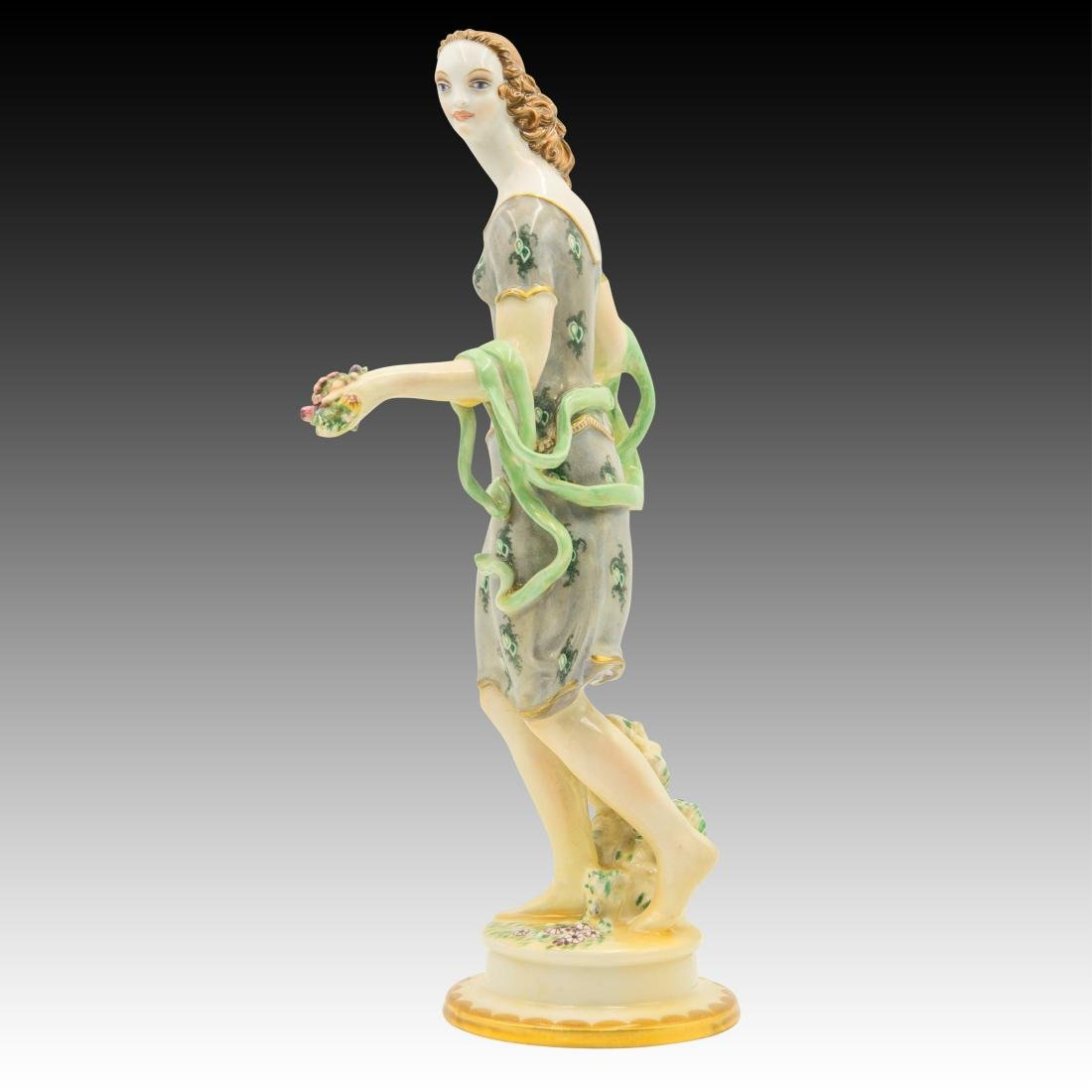 Wein Female with Flowers in her Hands Figurine - 4