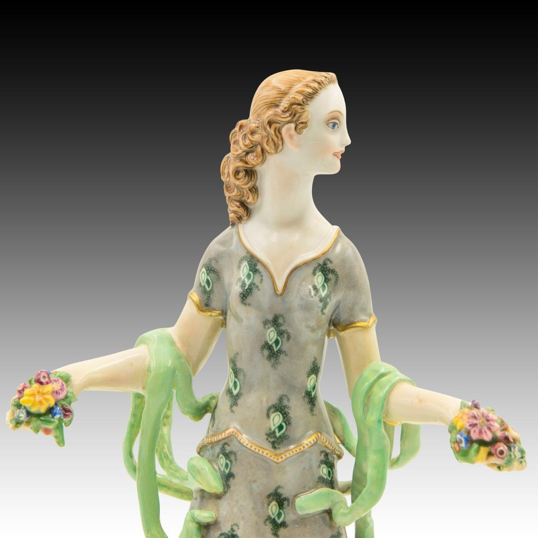 Wein Female with Flowers in her Hands Figurine - 5