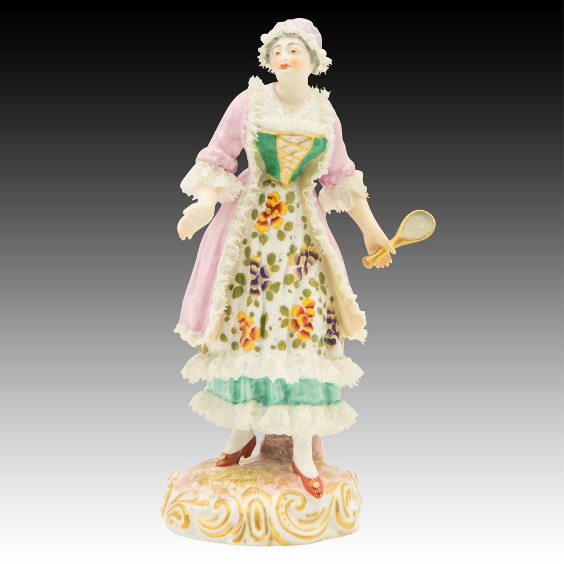 Meissen Maiden Wearing a Lace Dress Figurine