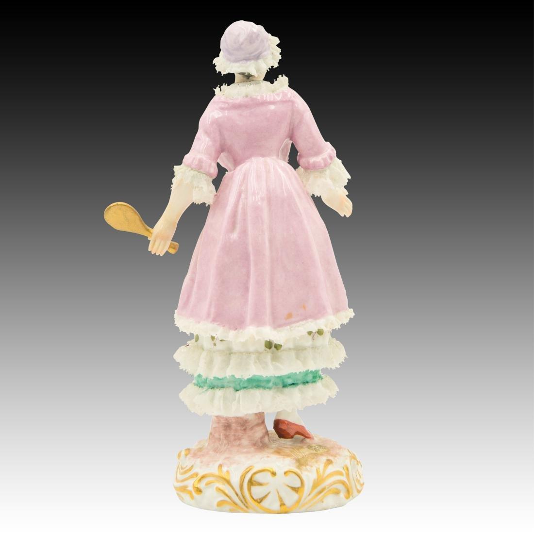 Meissen Maiden Wearing a Lace Dress Figurine - 3