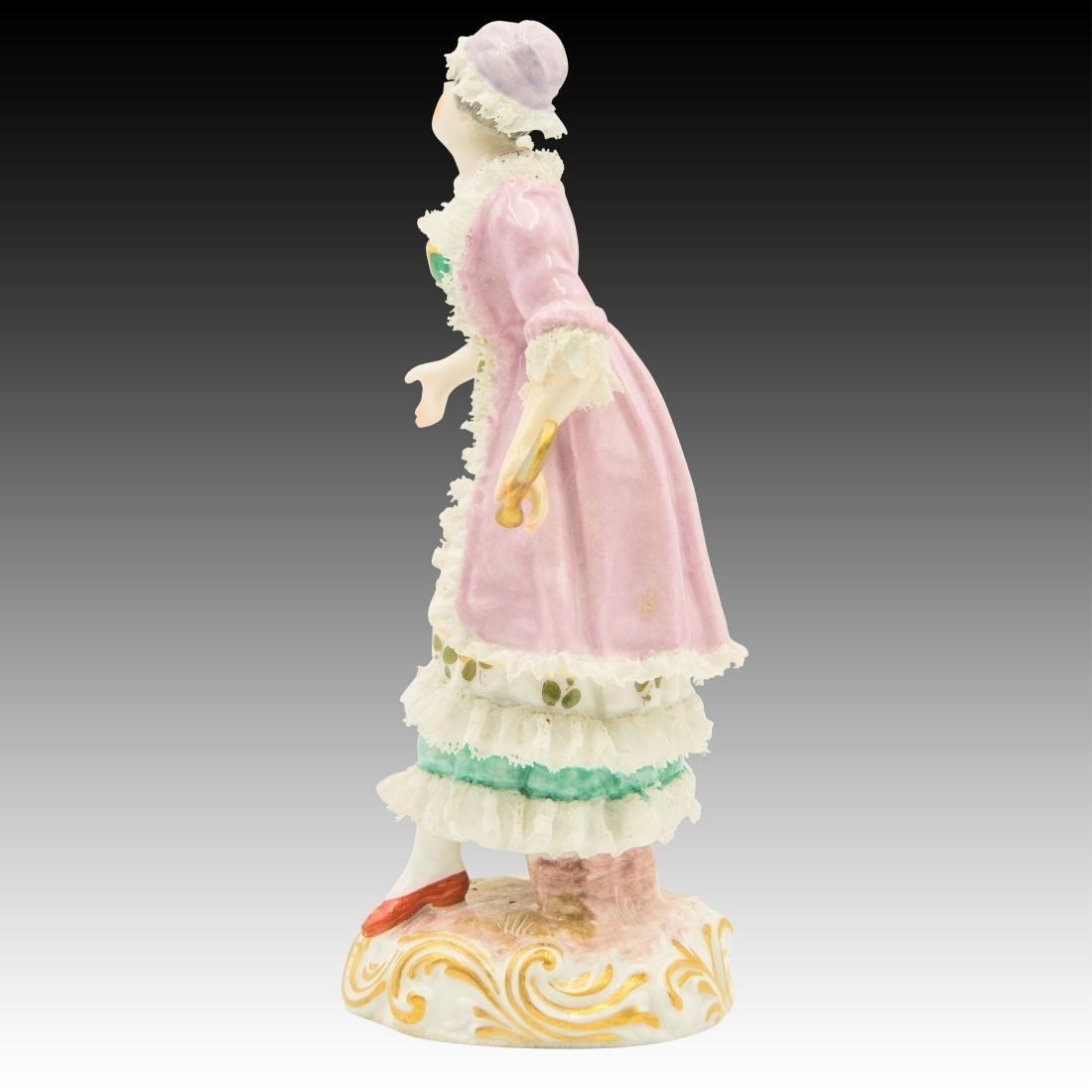Meissen Maiden Wearing a Lace Dress Figurine - 4