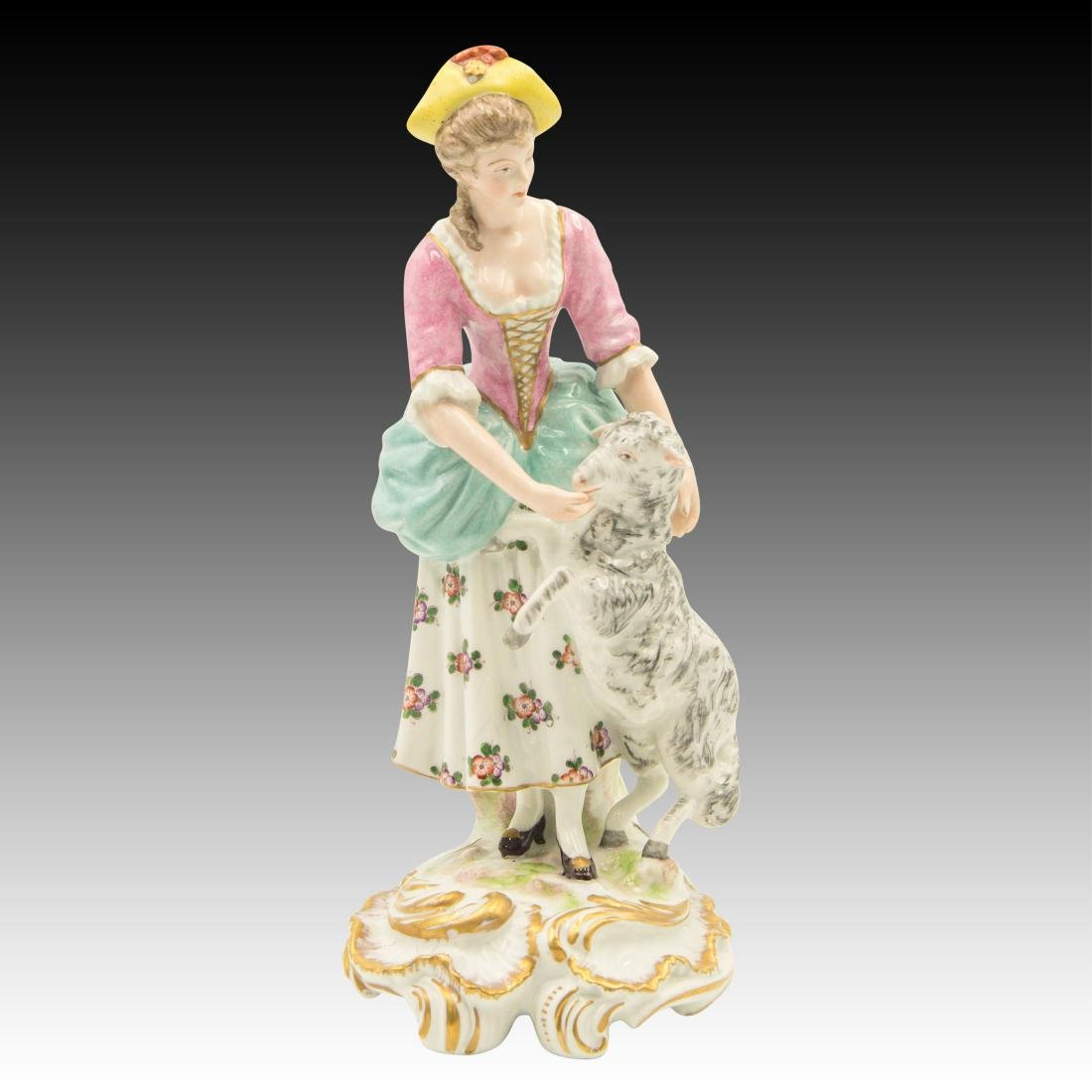 Kalk Porcelain Woman Playing with Lamb Figurine