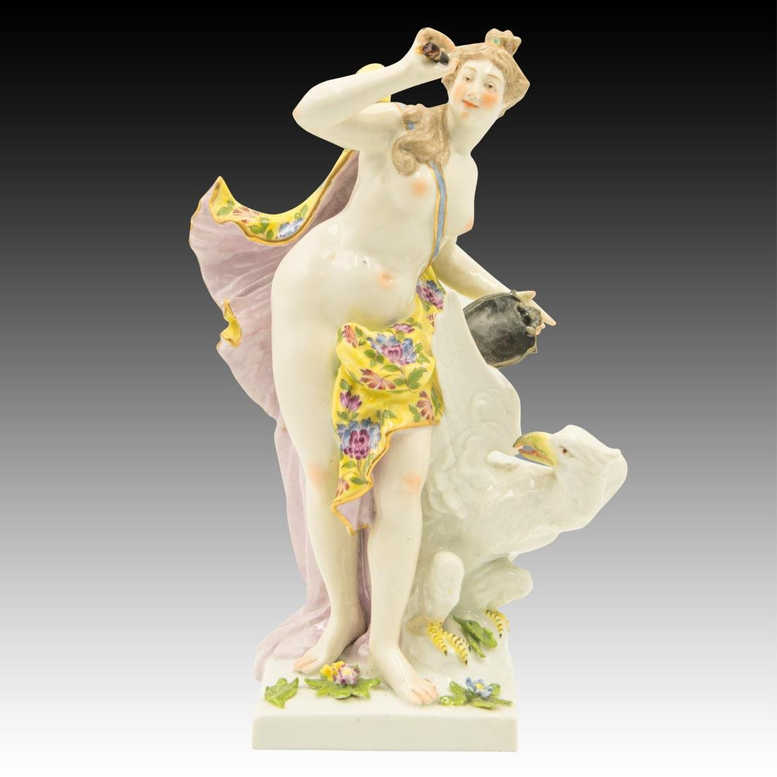 Nude Woman with a Shield and Gryphon Figurine
