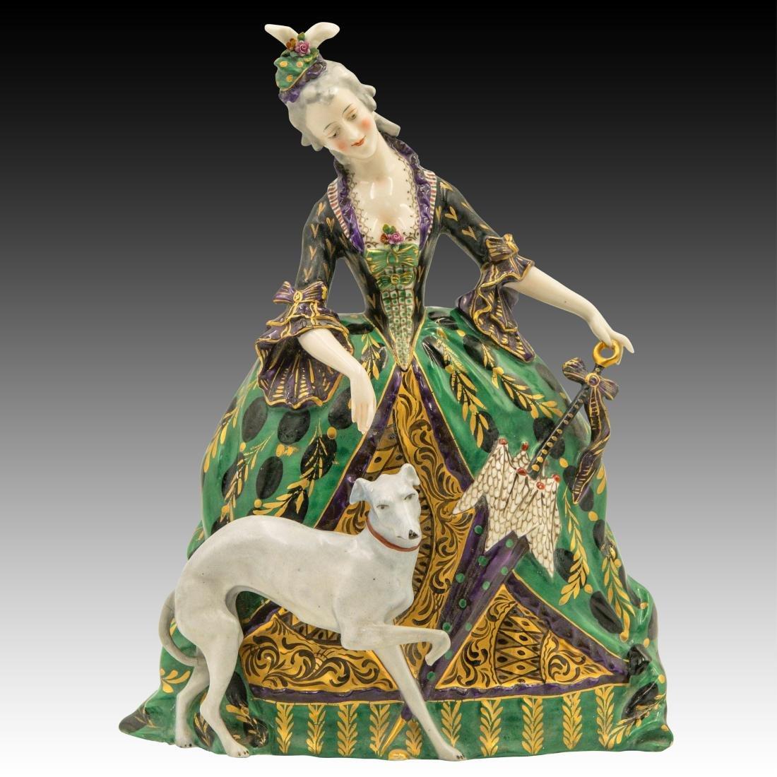Polychrome Figurine Woman and her Greyhound