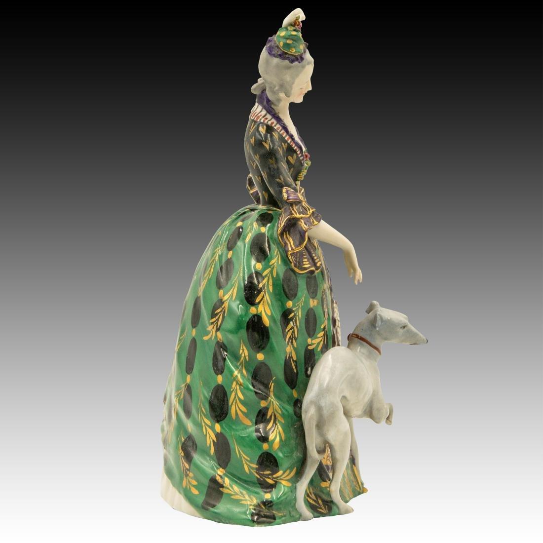 Polychrome Figurine Woman and her Greyhound - 2