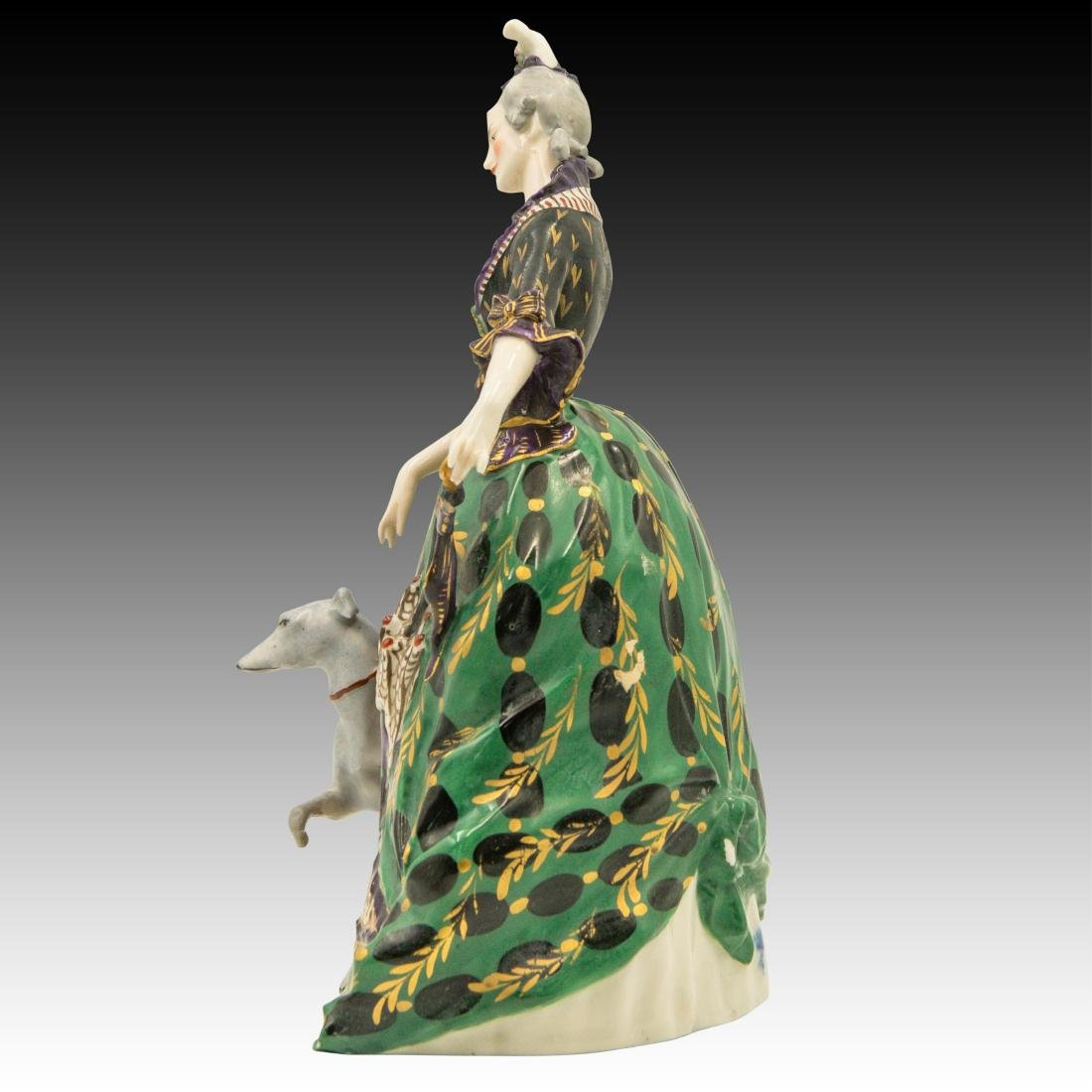 Polychrome Figurine Woman and her Greyhound - 4