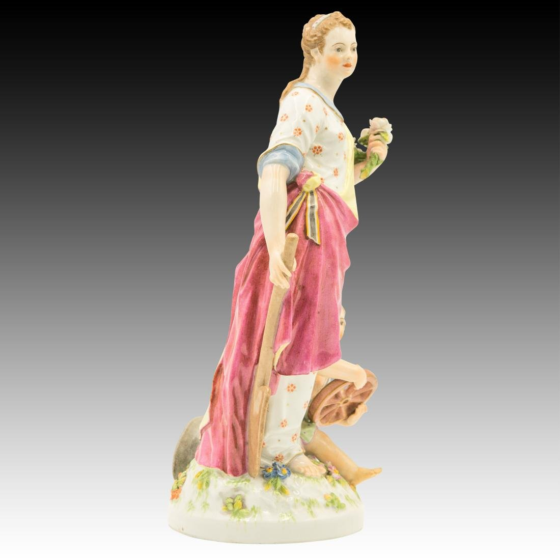 Woman holding a spade and Flowers Figurine - 2