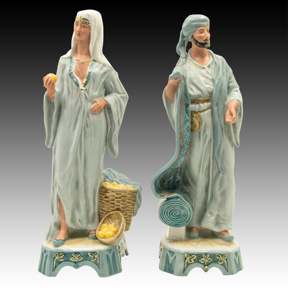 Royal Dux Middle Eastern Street Vendors Figurines