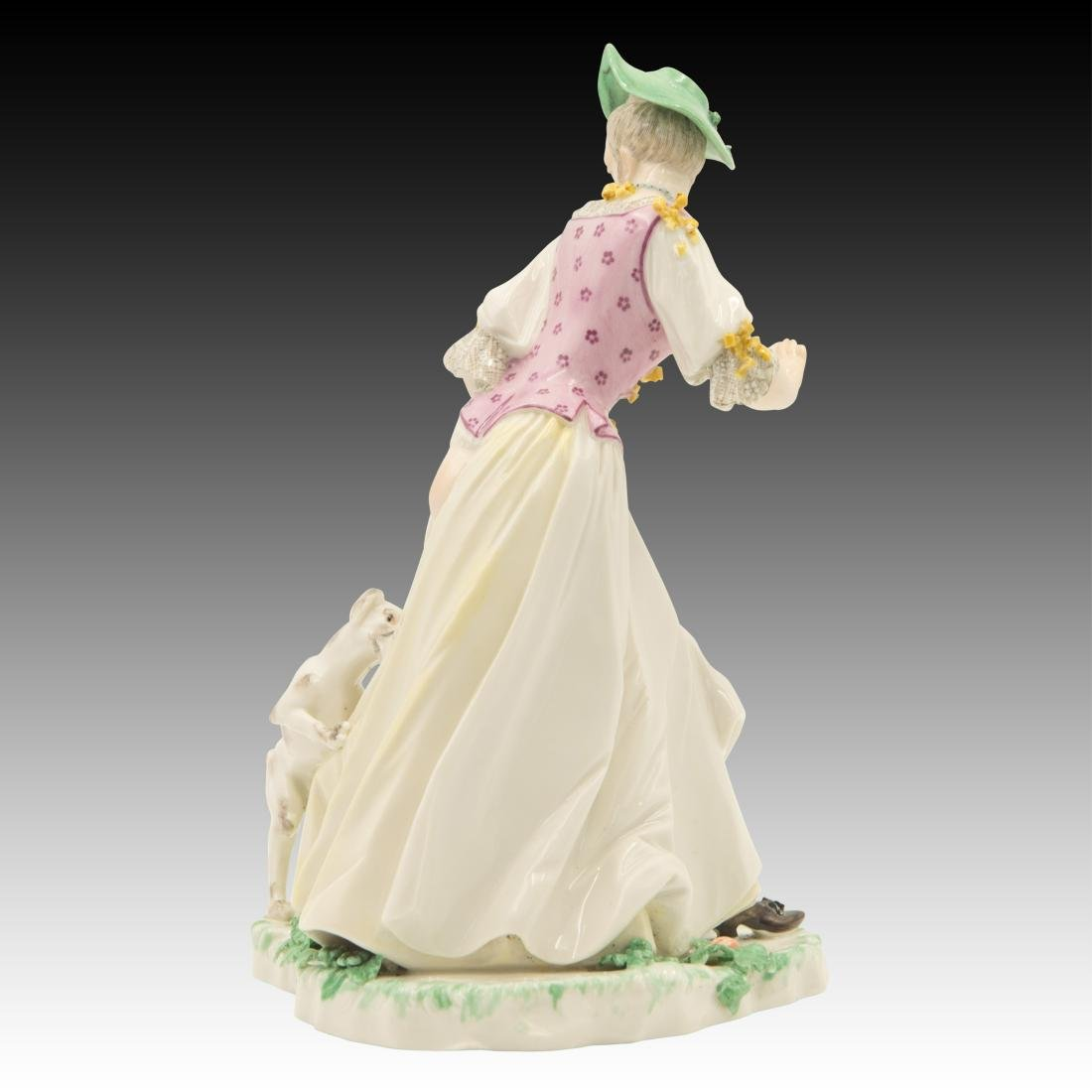 Nymphenburg Woman with Dog Pulling Down Dress - 3