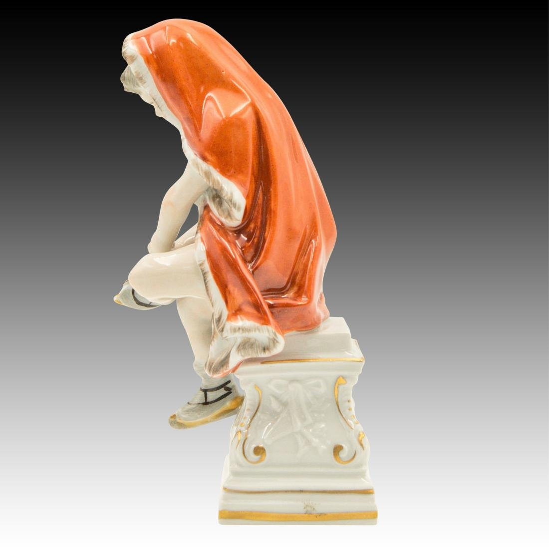 Dresden Figurine Young Girl in Red Cloak Skating - 4