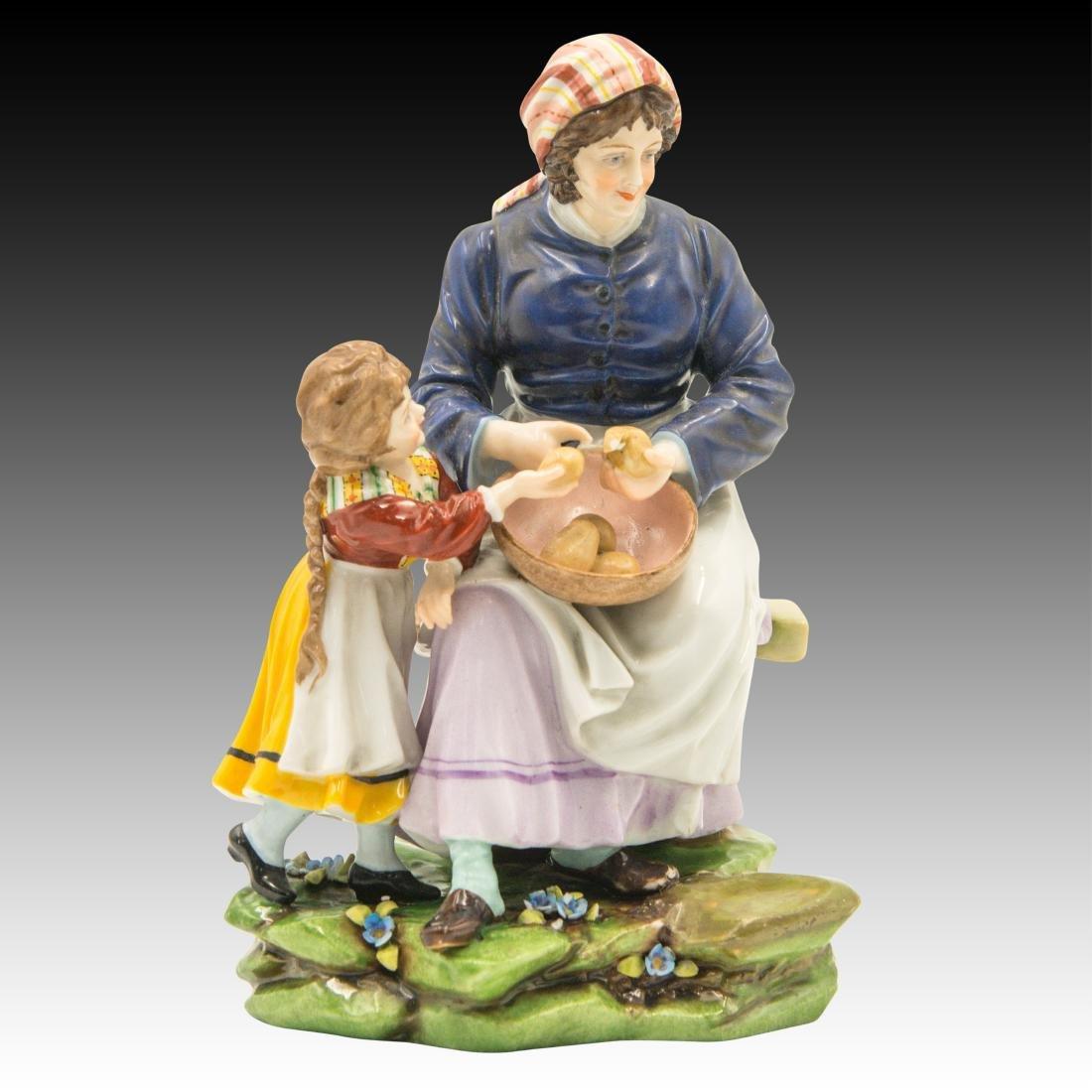 Sitzendorf Woman and Child Peeling Potatoes