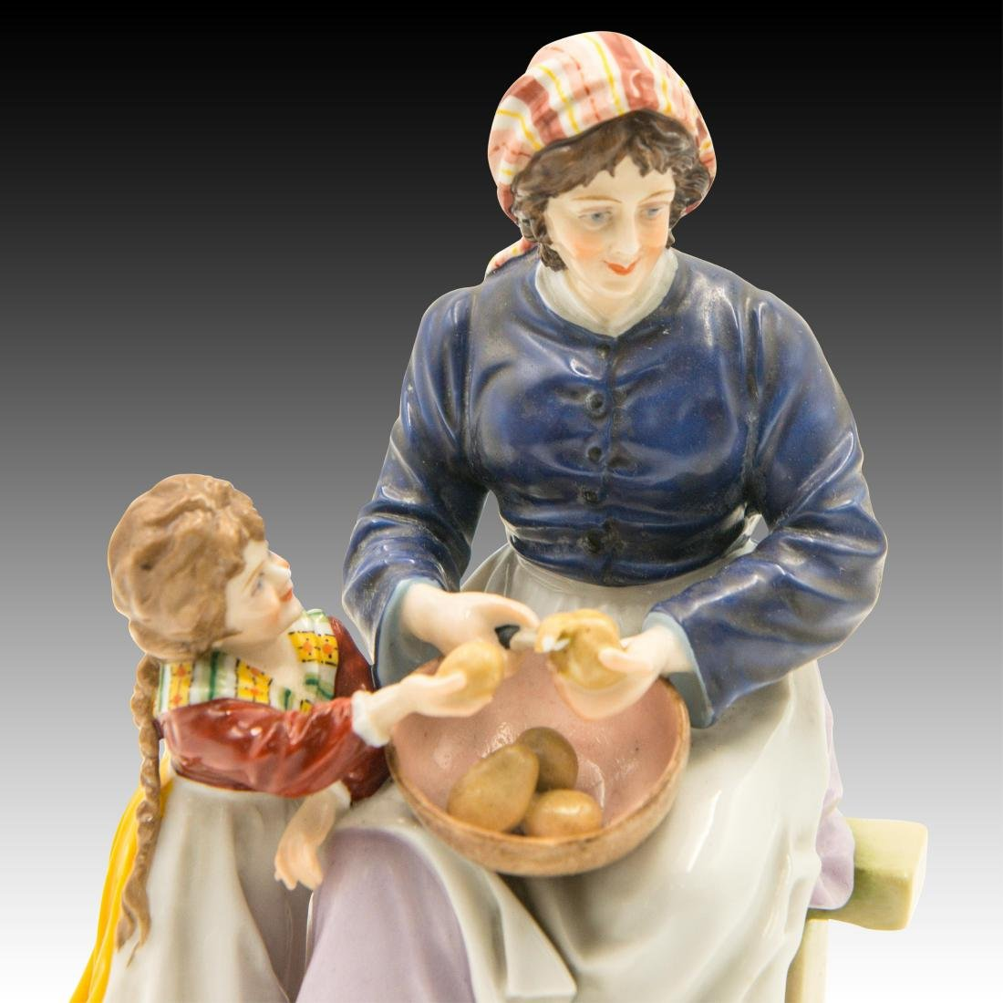 Sitzendorf Woman and Child Peeling Potatoes - 5