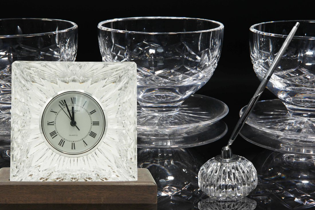 8 pc Waterford Lismore Desserts, Clock, Penholder