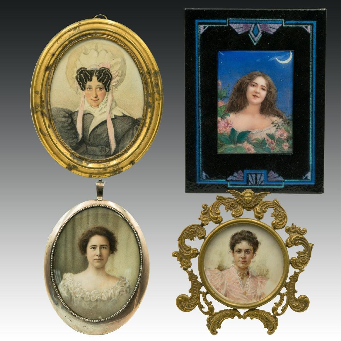 4 Miniature Pastel Paintings ca.1800s