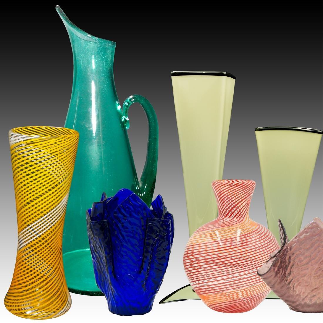 Group of 7 Modern Studio Art Glass Designer Vases
