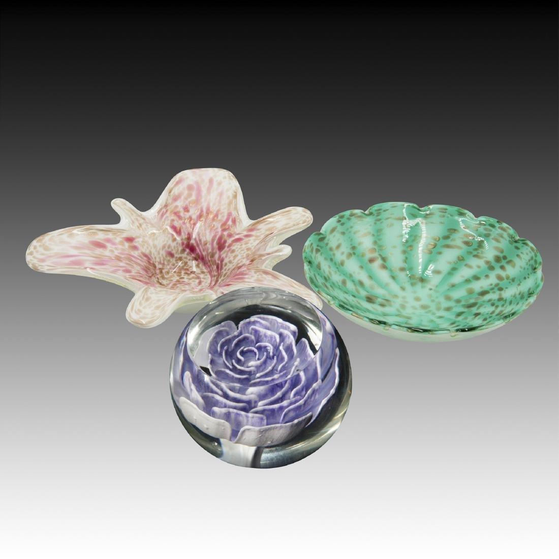 Modern Art Glass Paperweight & Murano Bowls