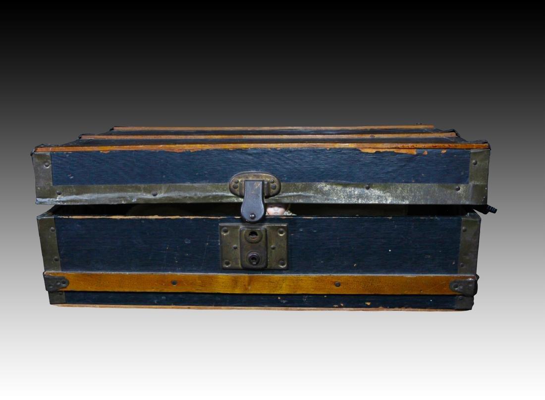1 Doll sized flat steamer trunk