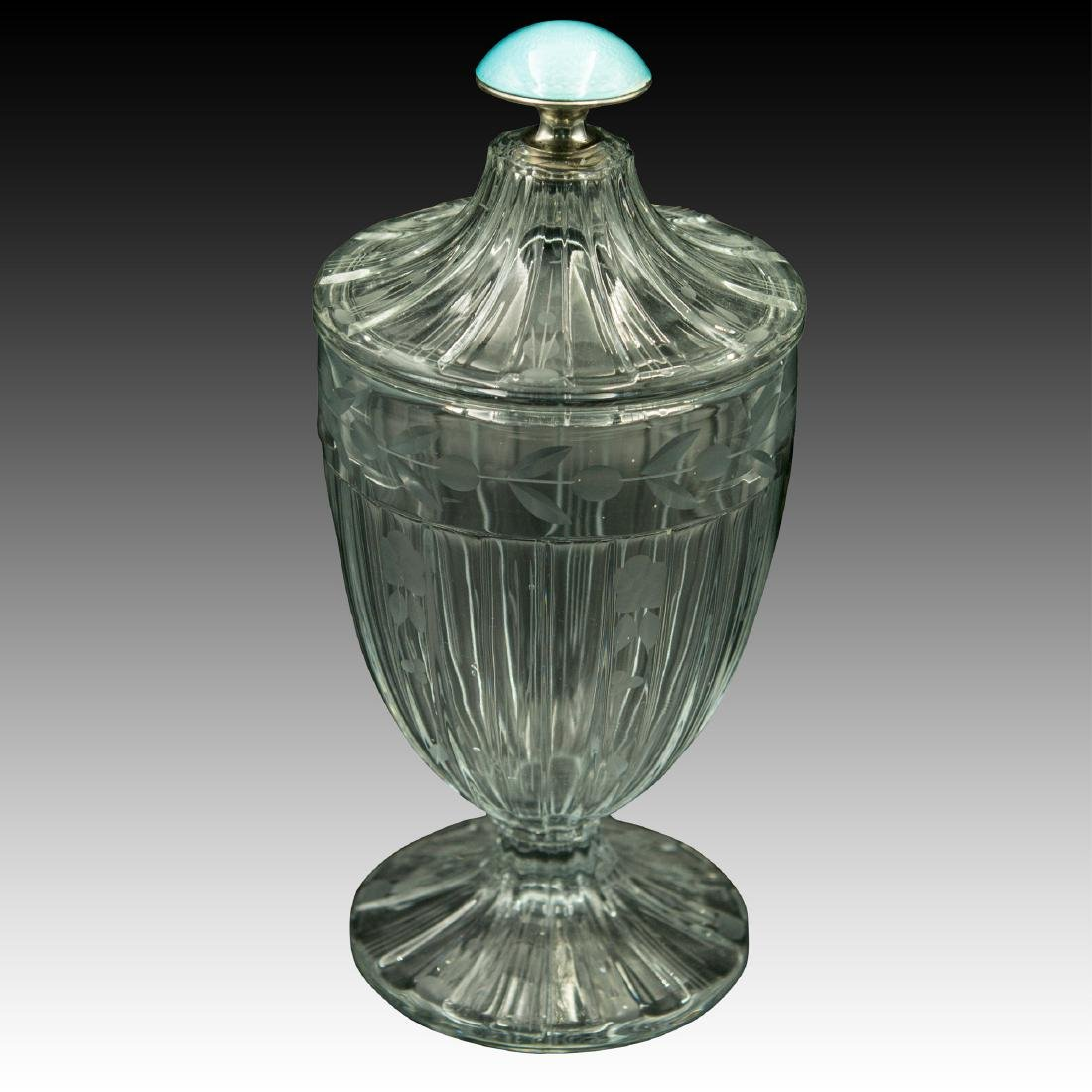 Large Heisey Guilloche Enamel Sterling Crystal Jar