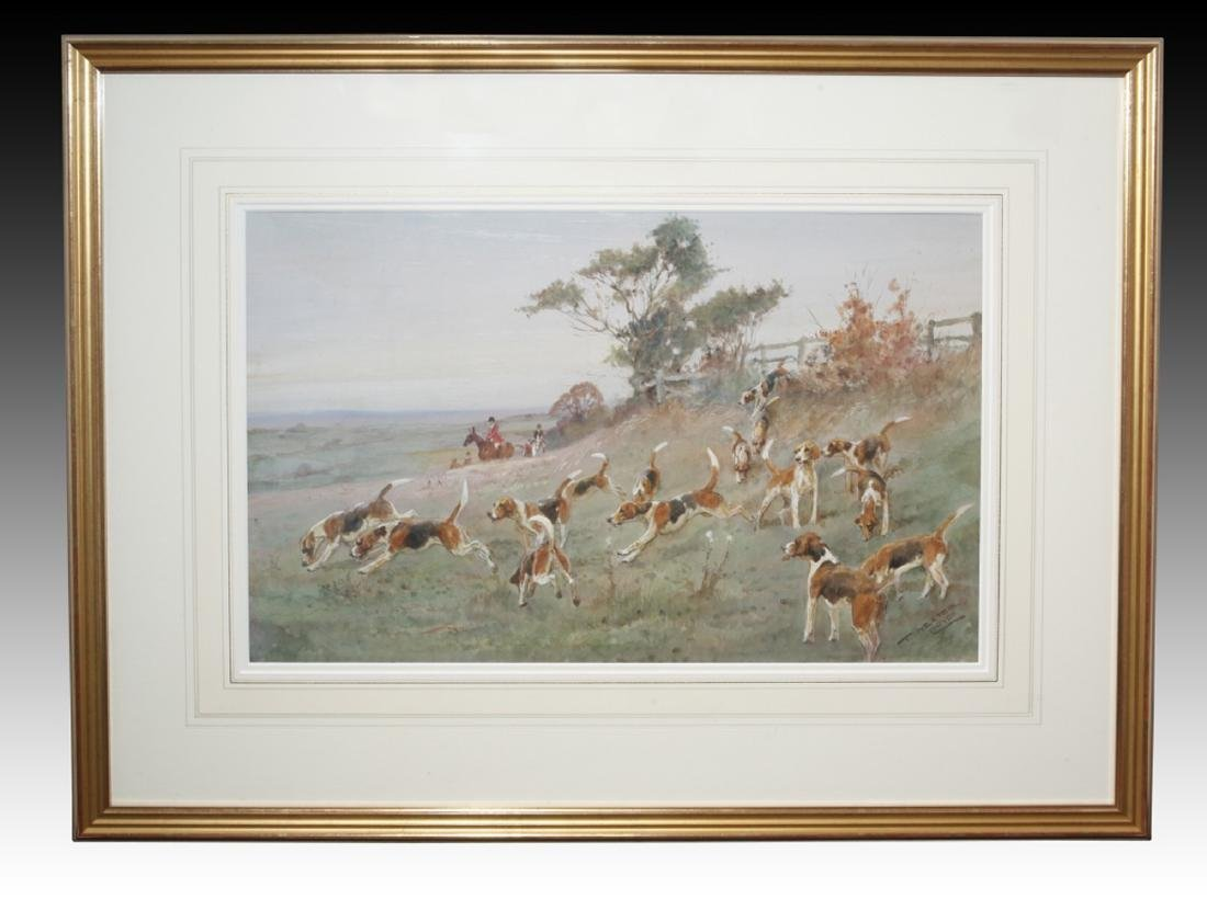 T. Ivester Lloyd Watercolor Hunting Scene Painting