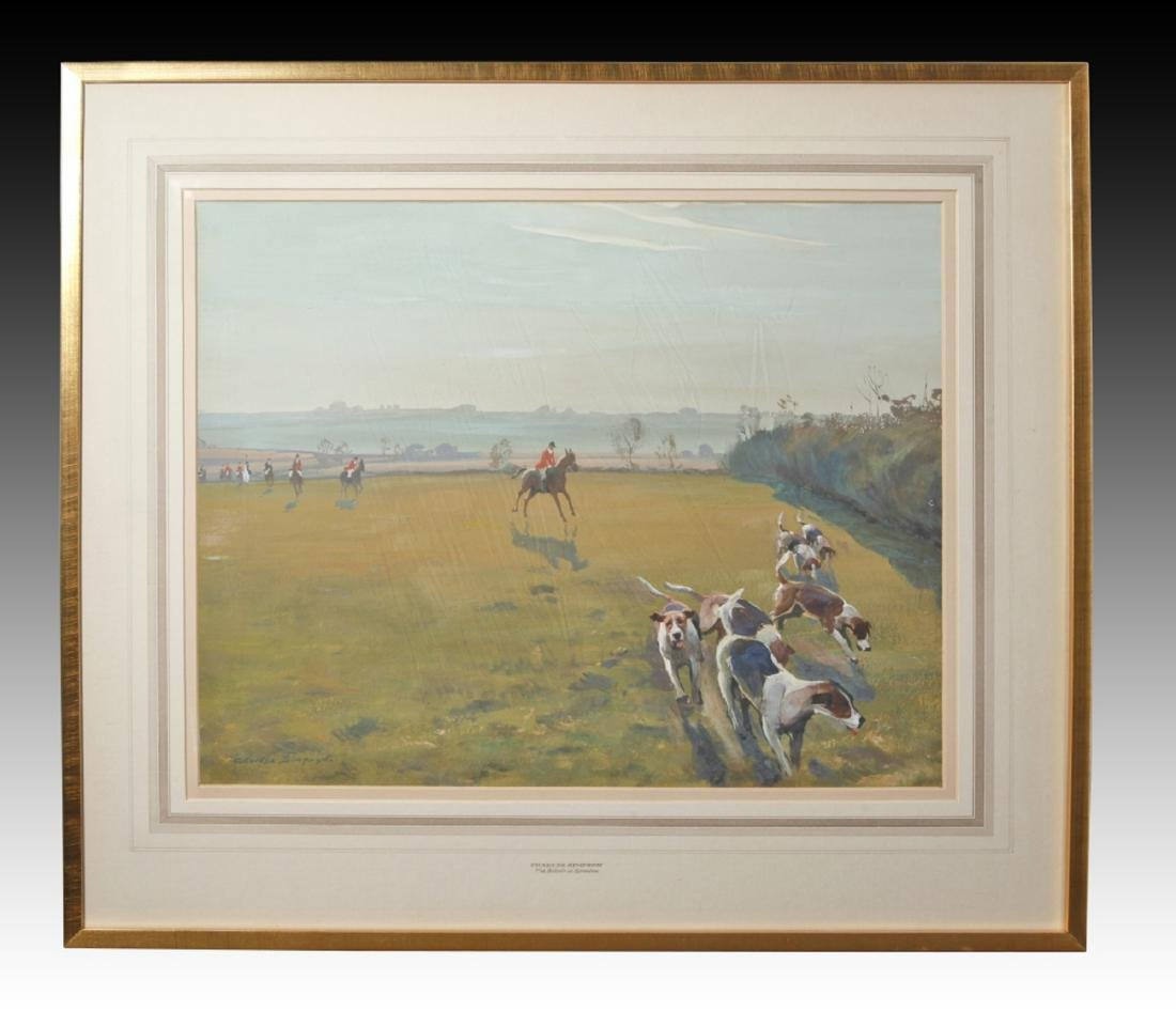 Watercolor Hunt Scene on Paper by Charles Simpson