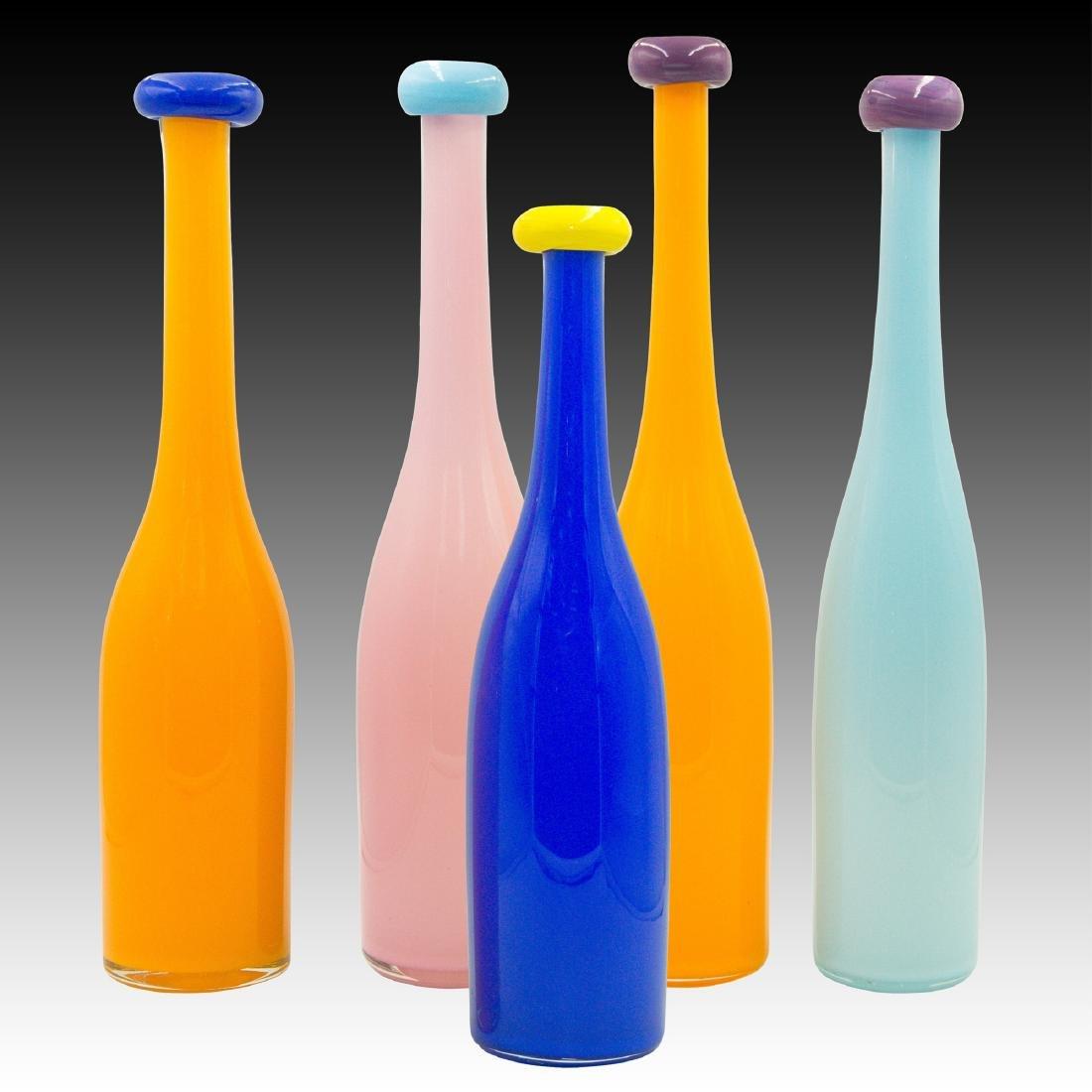 Set of 5 Chuck Vannatta Modern Art Glass Vases