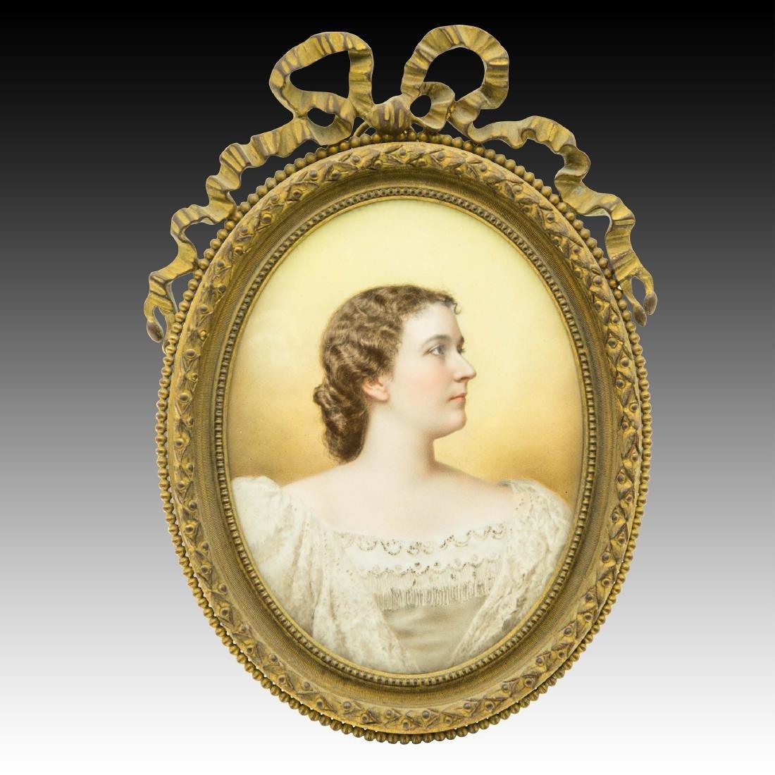 Miniature portrait on enamel by Mathieu Deroche