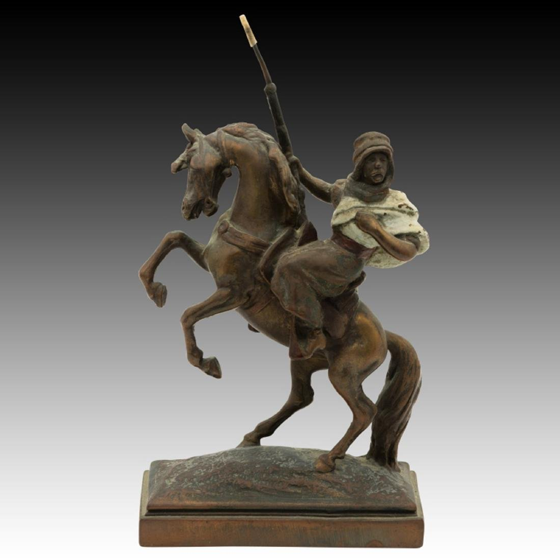 Paul Herzel Bronze Statue Arab on Horseback