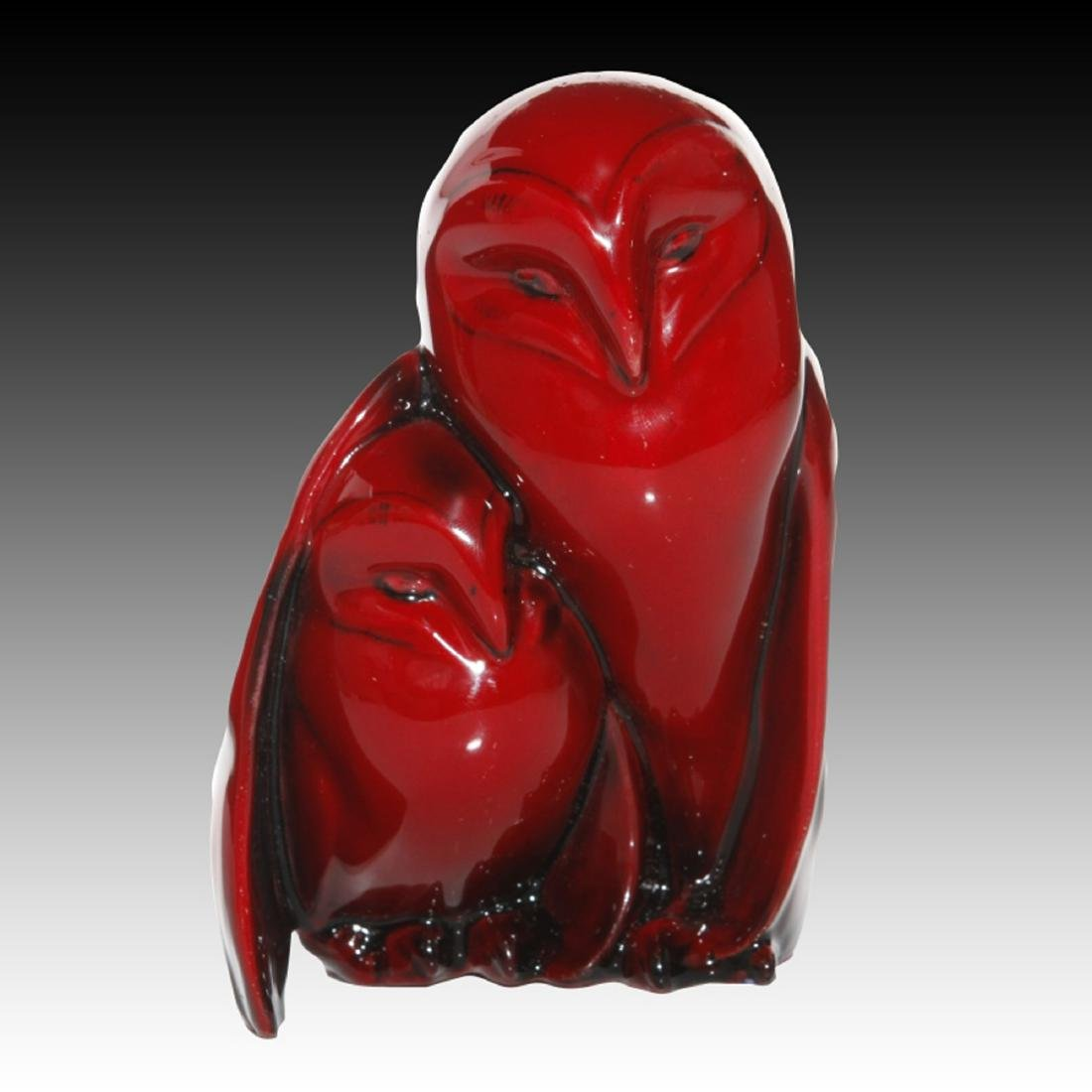 Royal Doulton Flambe Owl with owlet under wing