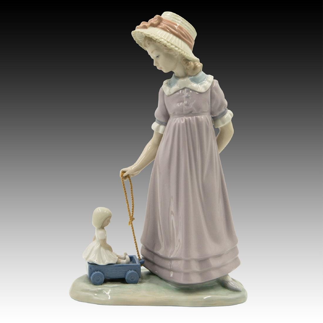 Lladro Girl with Toy Wagon Figurine 5044 Retired