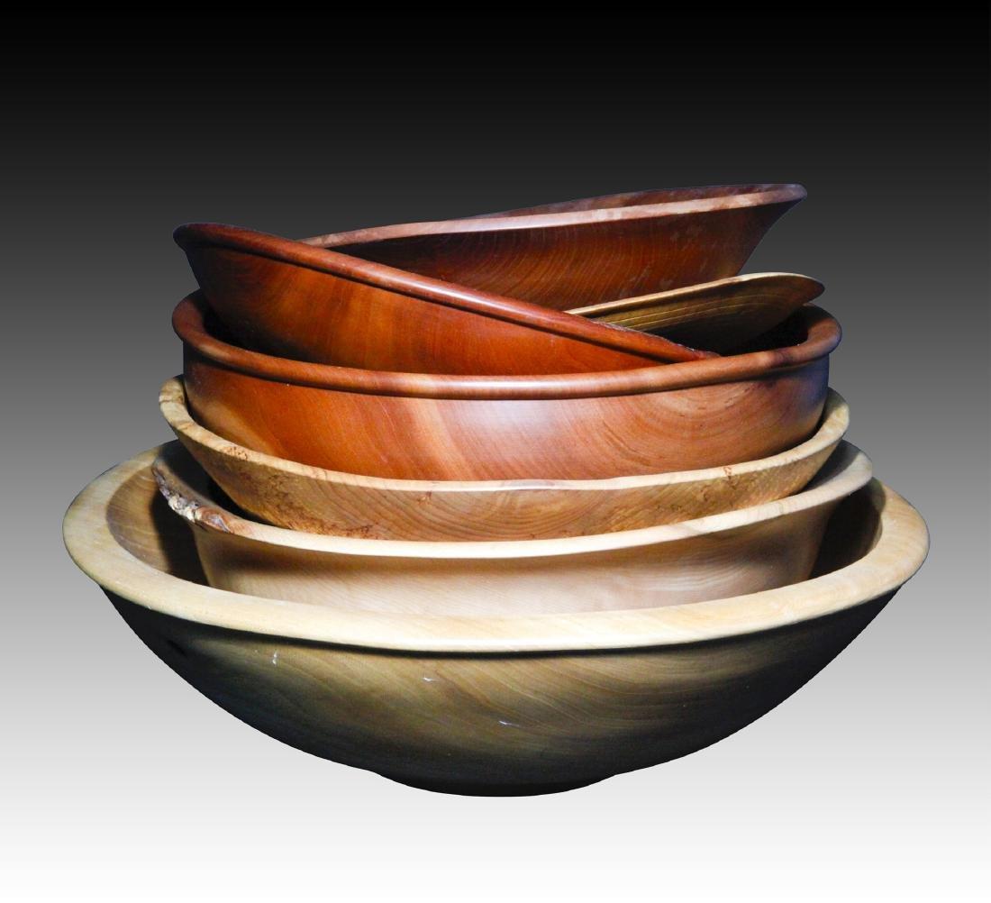 Set of 7 Artist Signed R.Tursini wood Bowls.