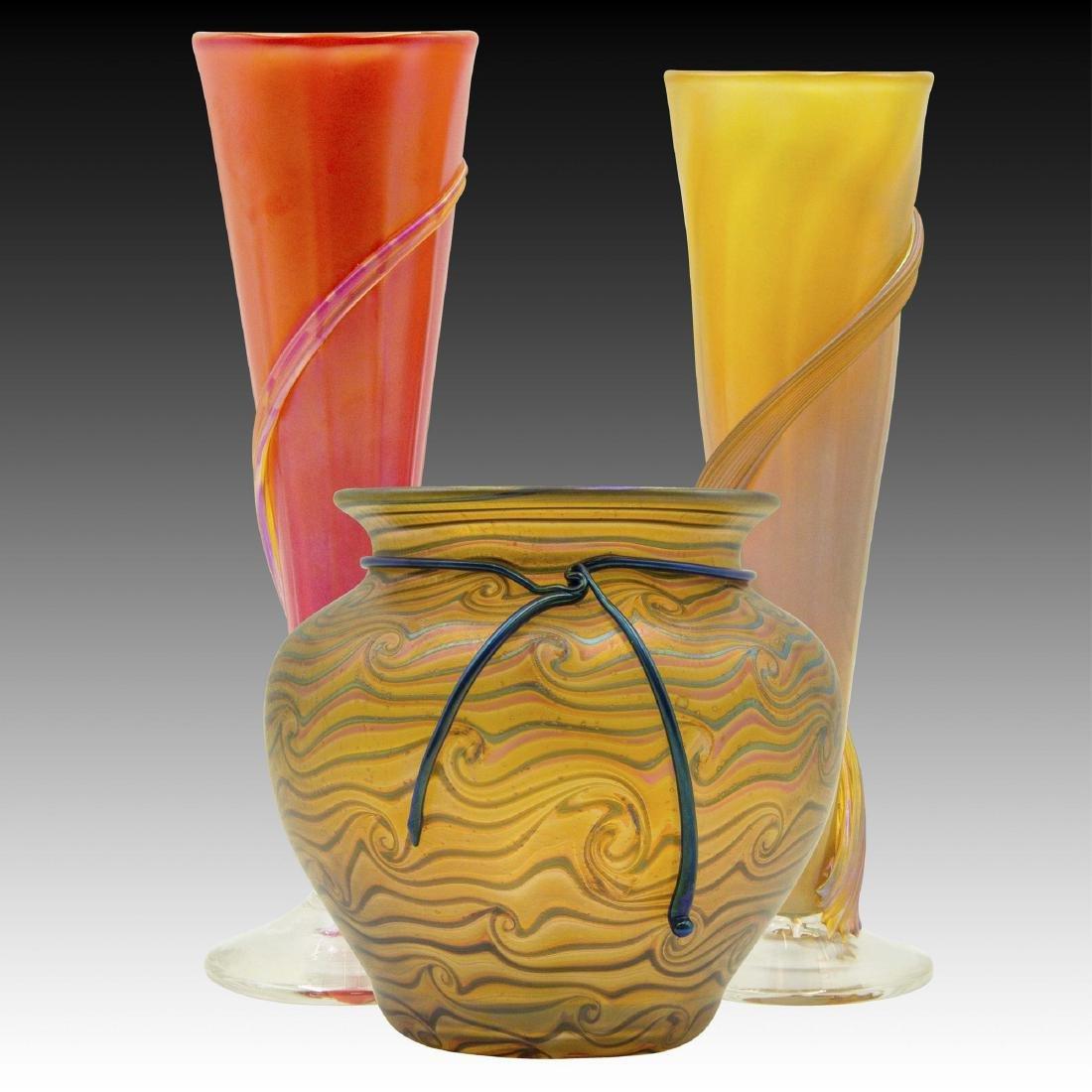 Set of 3 Zellique Modern Art Glass Vases, Bowl